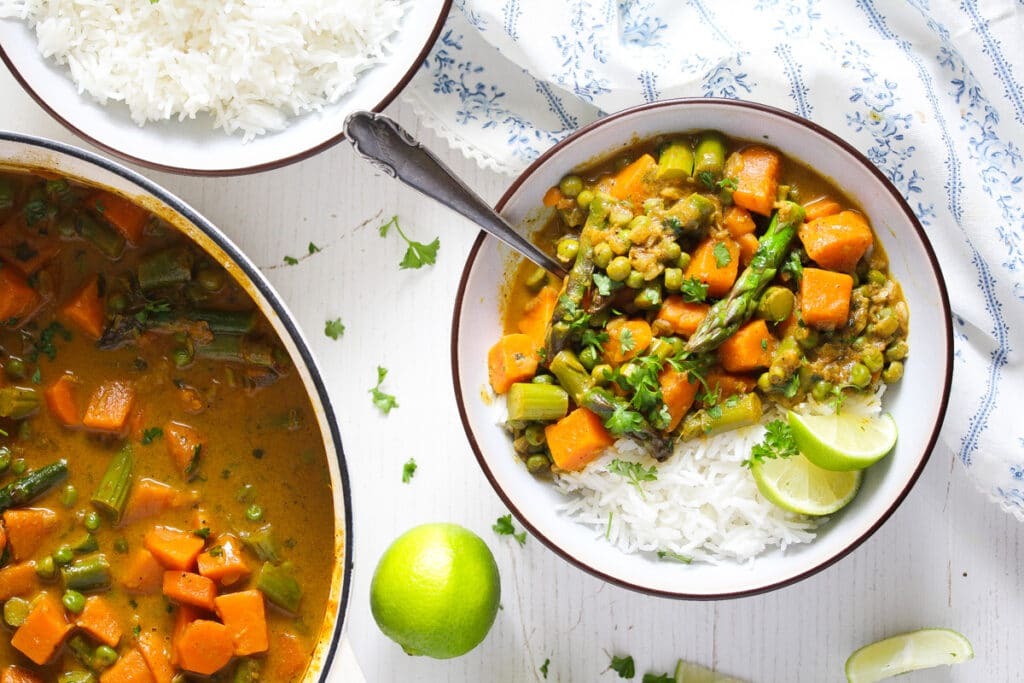asparagus sweet potato curry