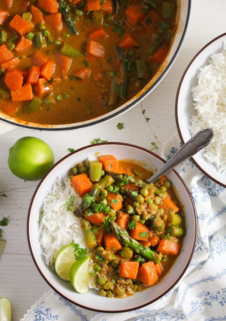indian curry with sweet potatoes and coconut milk