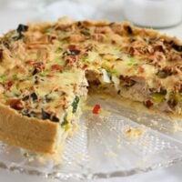 chicken leek pie fresh from the oven