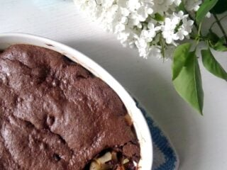 casserole dish with chocolate and fruit