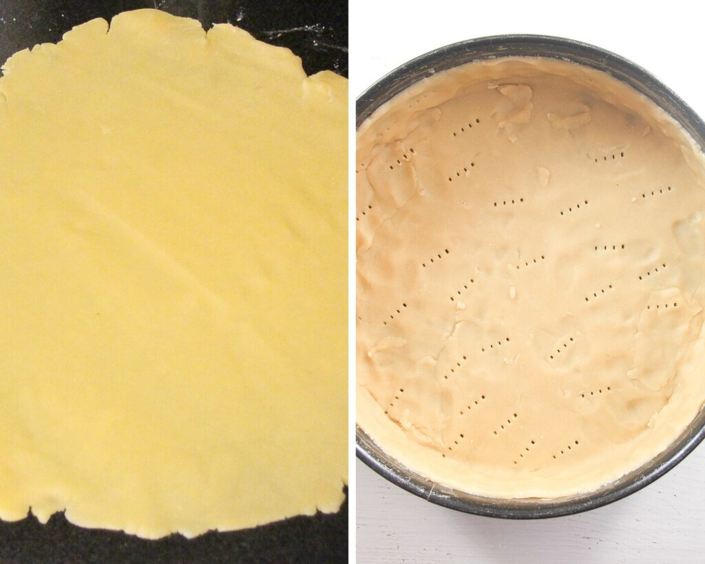 rolled and pricked shortcrust pastry in a springform