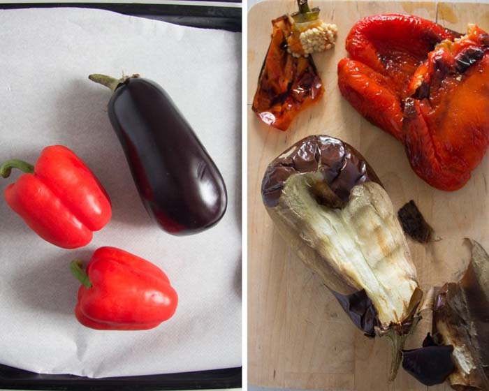 how to roast peppers and eggplants
