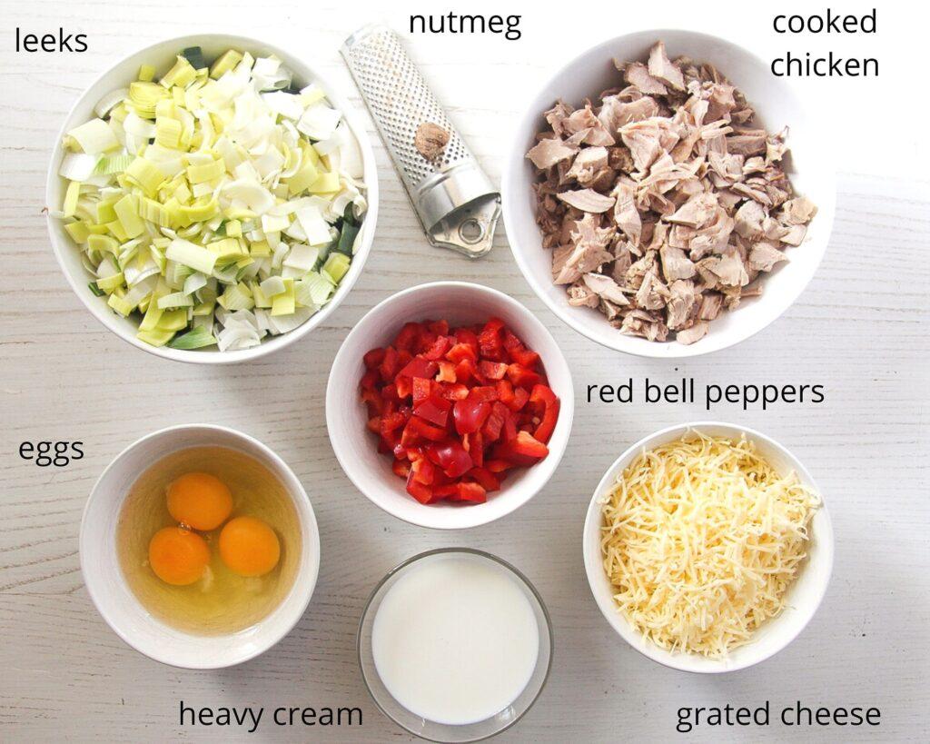 ingredients chicken and leek pie