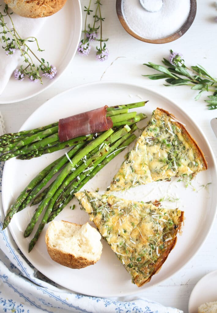 pea and leek frittata cut on a plate