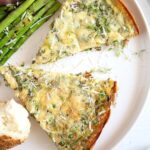 leek and peas eggs served with asparagus
