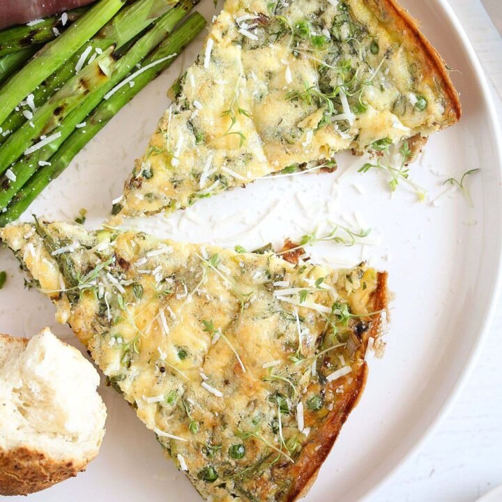 parmesan frittata with leeks and peas