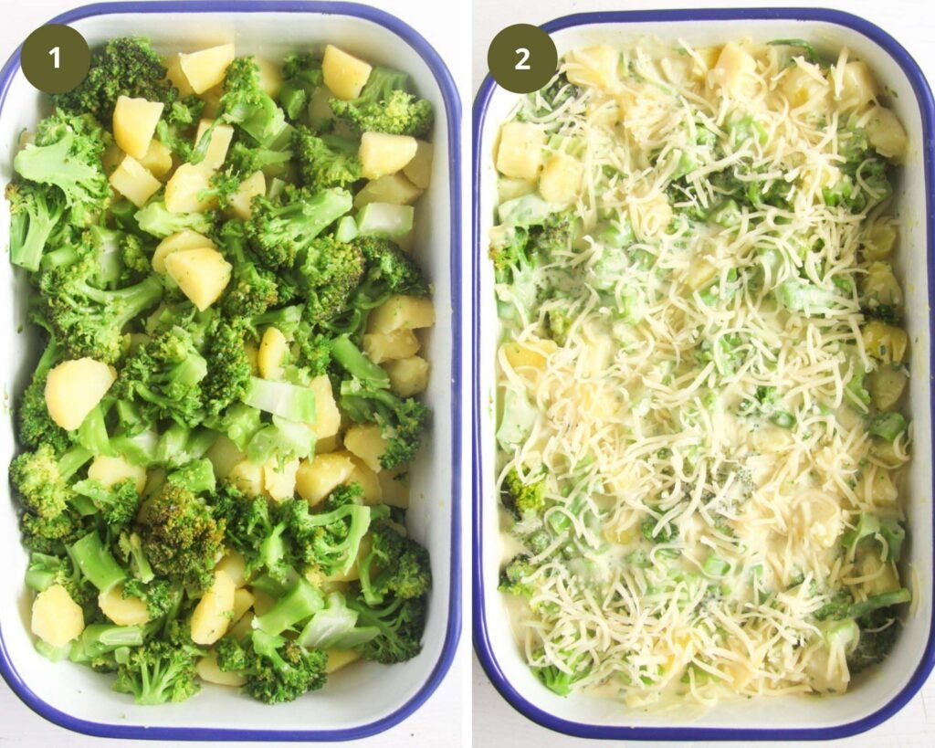 collage of two pictures of a vegetable bake before cooking, one showing the veggies and one showing the topping.