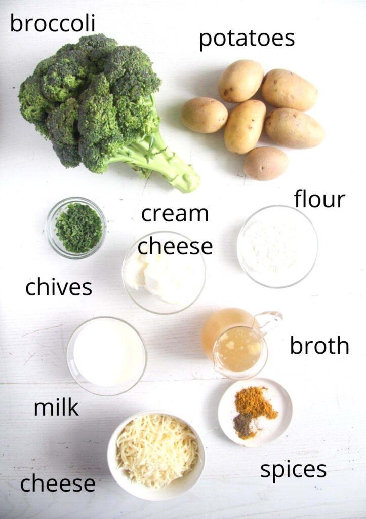all the ingredients for broccoli potato bake on the table.