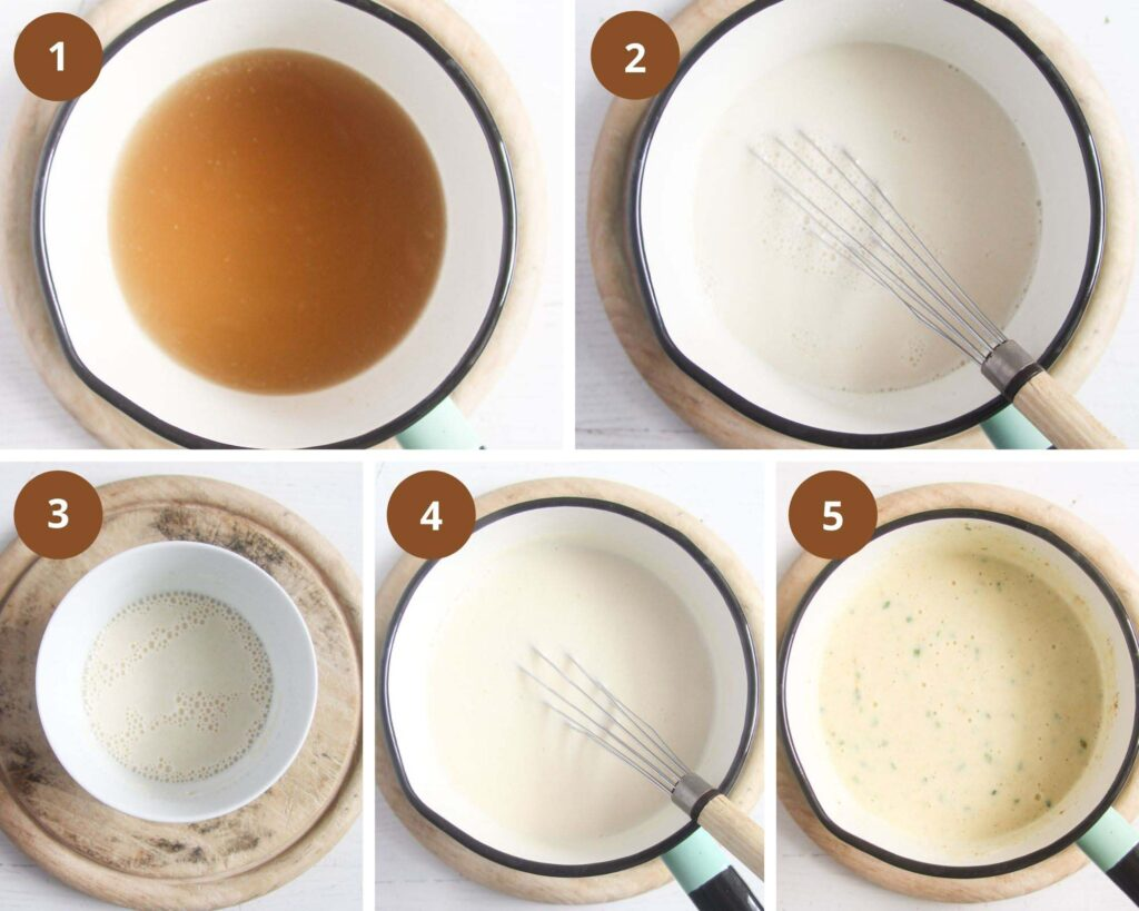 collage of five pictures of making cream cheese sauce for a casserole.