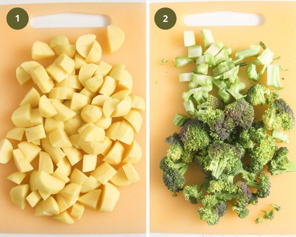 collage of two pictures of chopped potatoes and chopped broccoli on a cutting board.