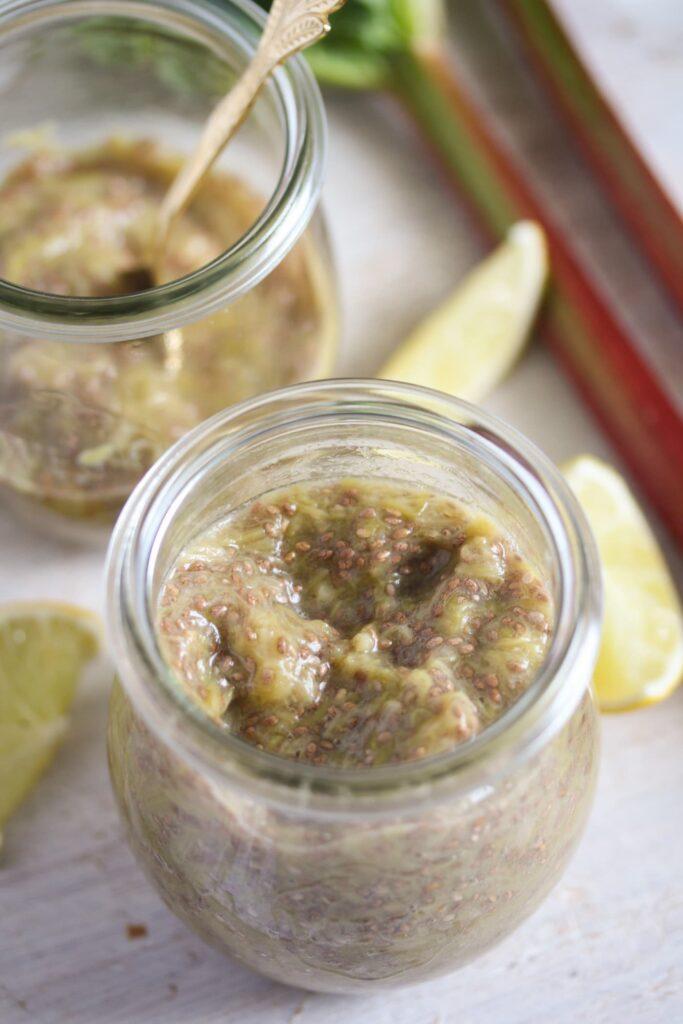 jars with chia jam and lemon slices