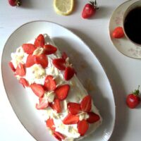 Strawberry Basil Roll with quark and cream