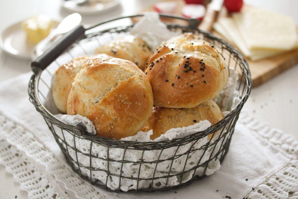 freshly baked breakfast bread roll in a basket
