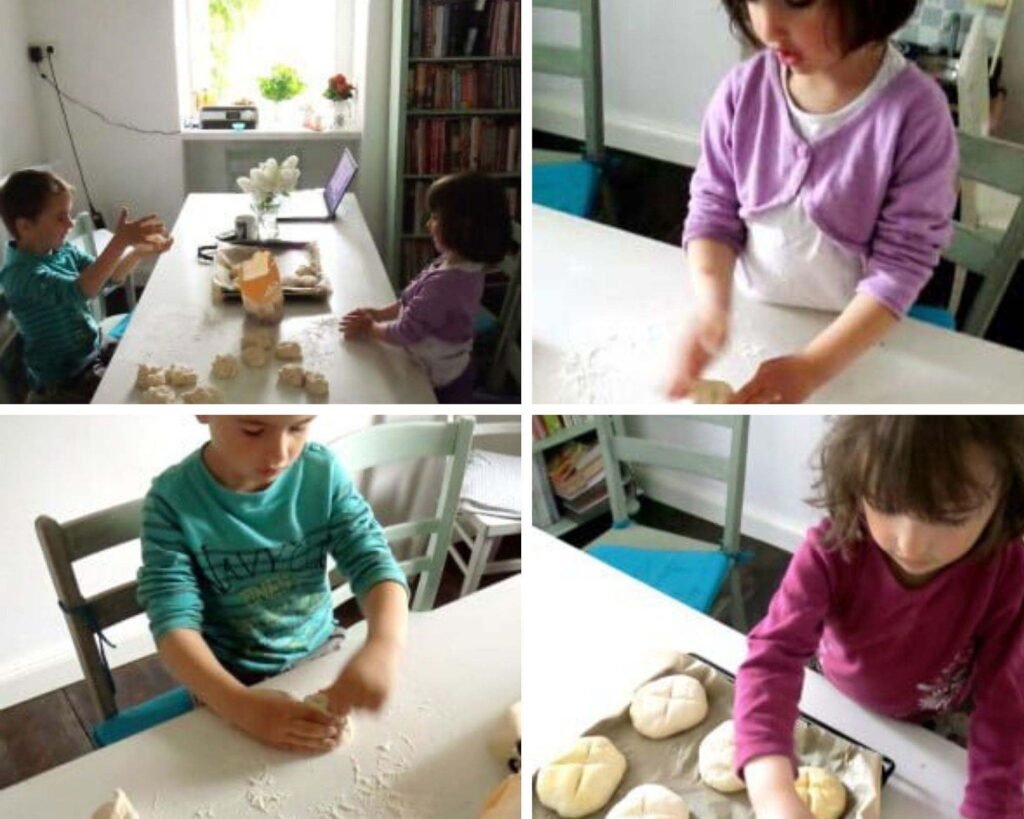 boy and girls forming the dough