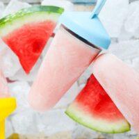 greek yogurt popsicles with watermelon on ice