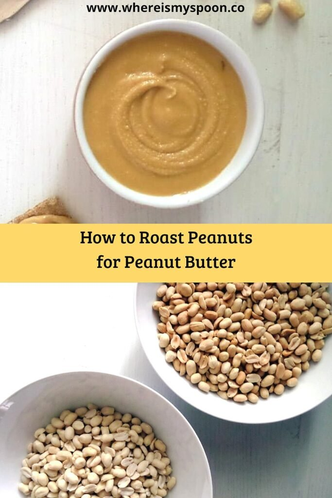 roasted peanuts and a bowl of peanut butter