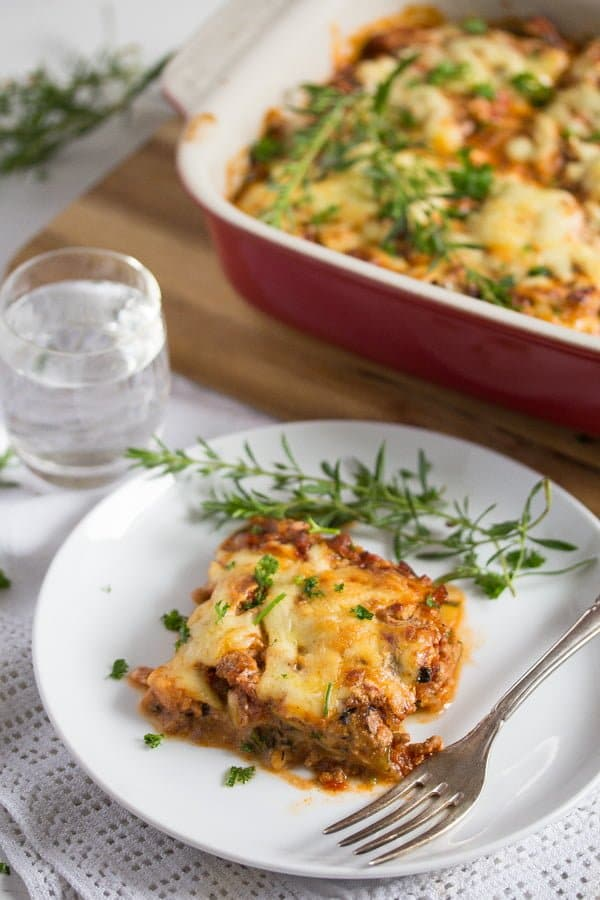 low carb zucchini lasagna on a plate