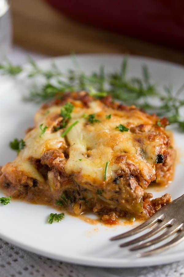 slice of low carb zucchini lasagna