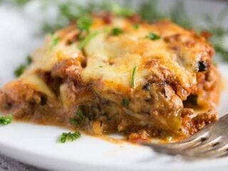 low carb zucchini lasagna with cream cheese