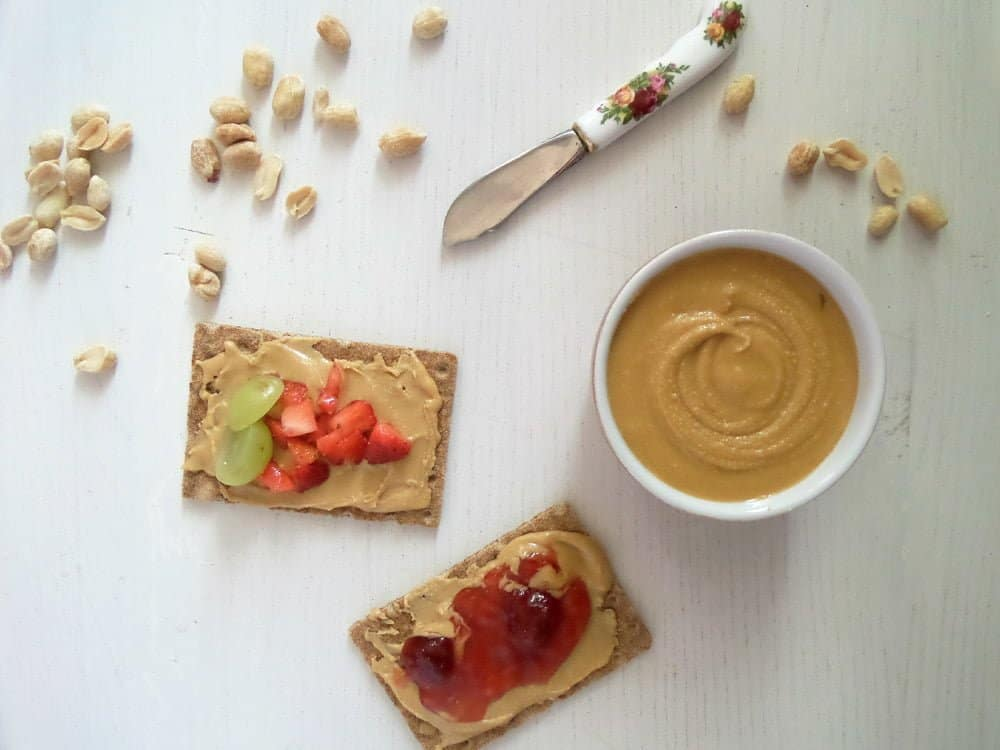 small bowl of peanut butter and crips bread with fruit