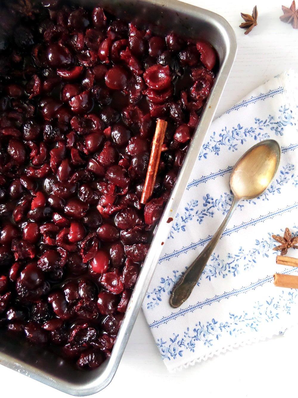poached cherries Roasted Sweet Cherries with Cinnamon and Strained Yogurt