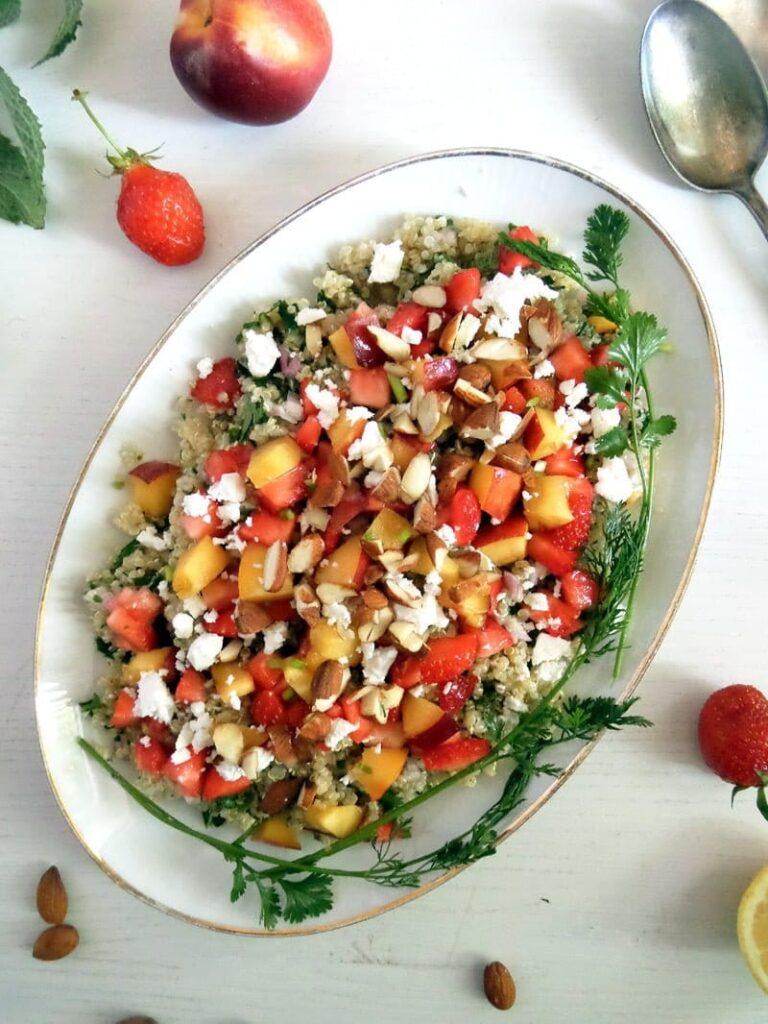 feta quinoa salad with nectarines on top