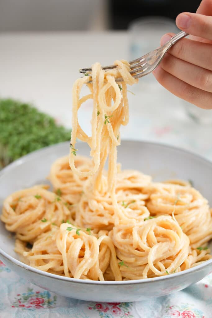 spaghetti with creamy sauce being lifted from the plate