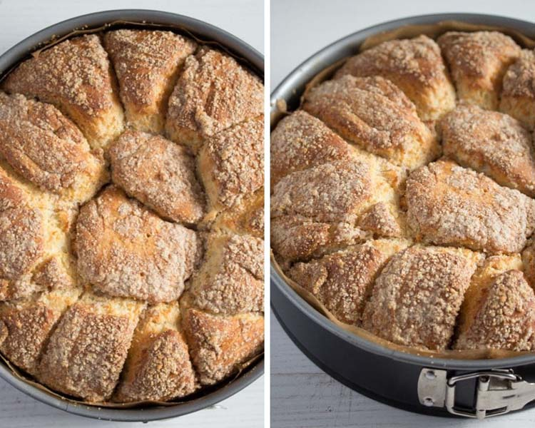 yeast cake in a pan