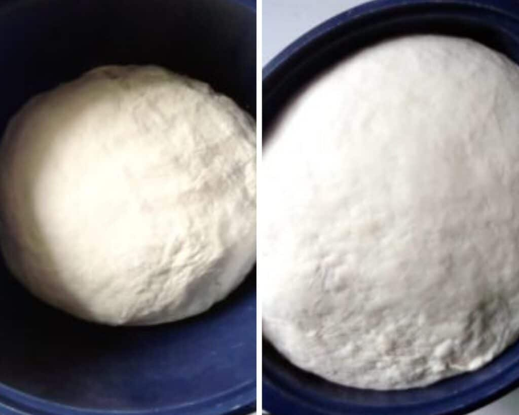 yeast dough in a bowl before and after rising