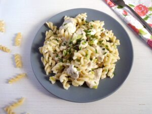 Fusili with chicken and fet 300x225 Quick Fusilli with Chicken, Feta and Spring Onions