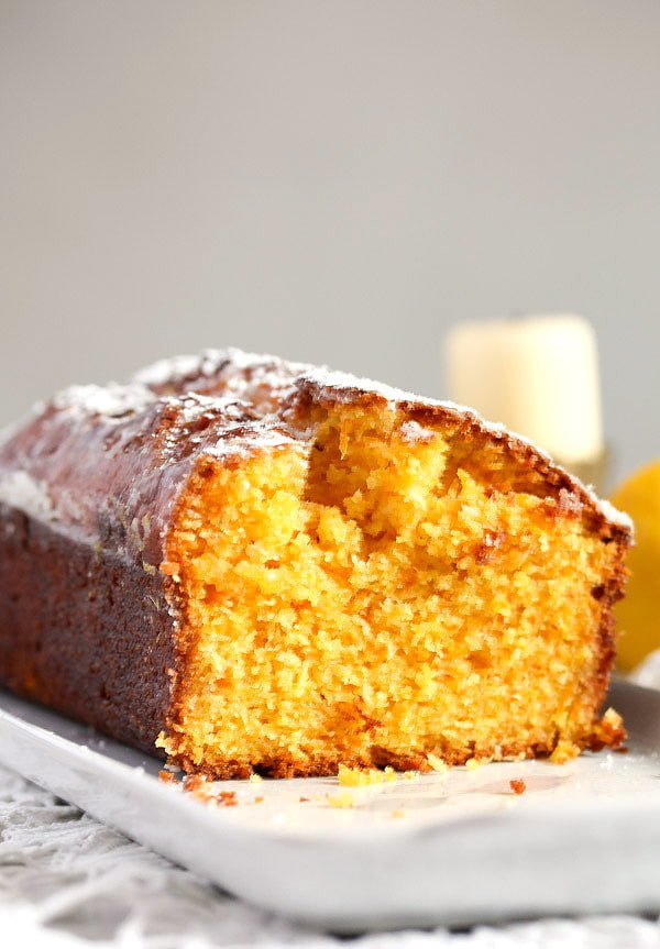 carrot loaf cake with lemon glaze