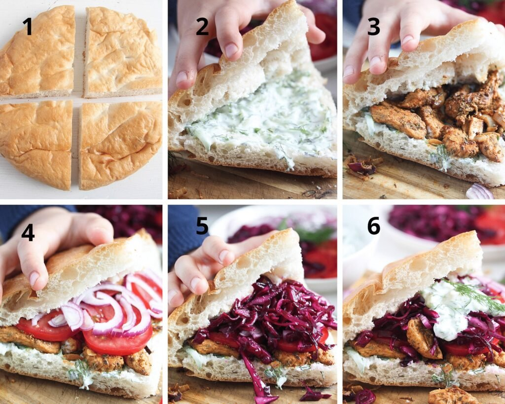 filling flatbread with tzatziki, meat, onions and red cabbage