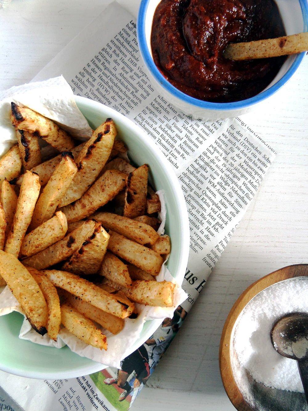kohlrabi fries Healthy Vegan Kohlrabi Fries with Curry Ketchup