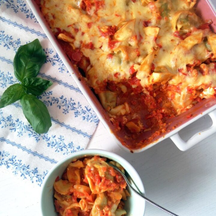 vegetarian tortellini casserole ready to be served