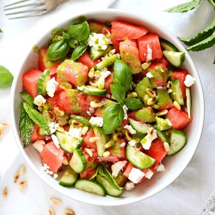 watermelon feta balsamic salad in a white bowl