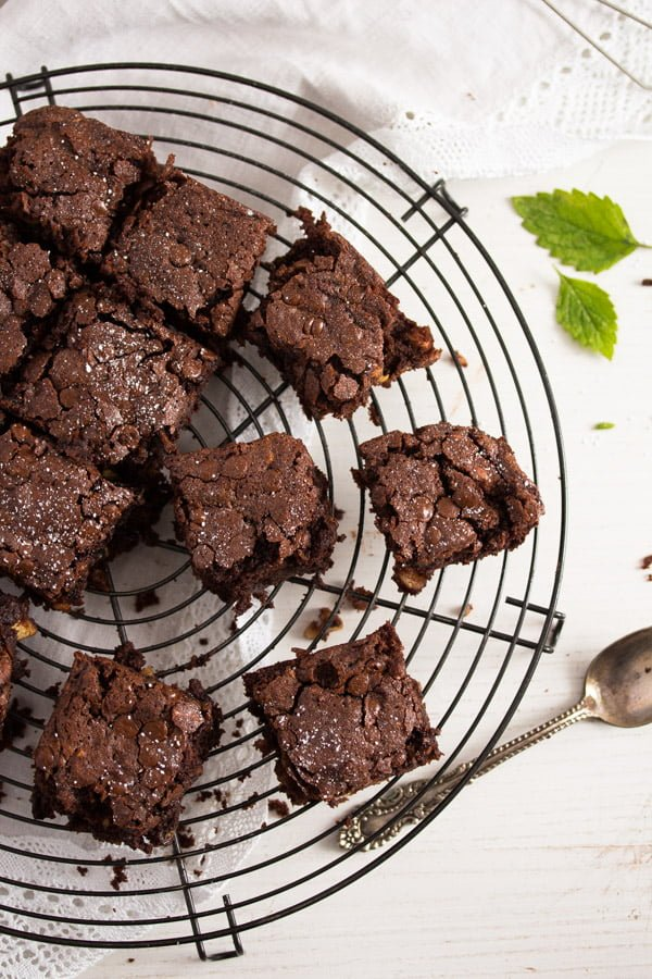 zucchini chocolate brownies with nuts