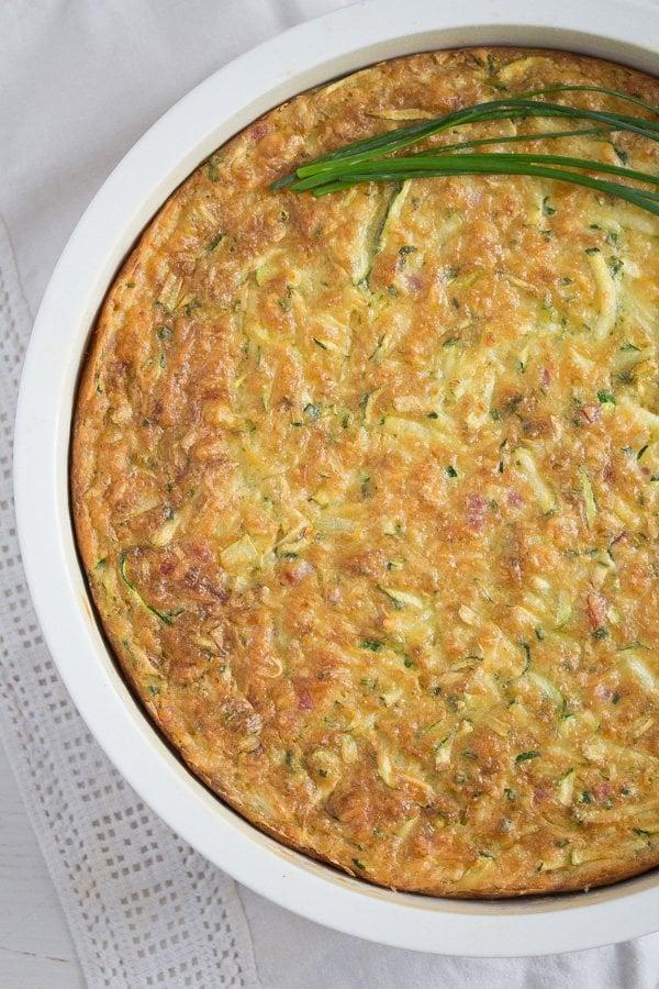 zucchini pie in a quiche dish