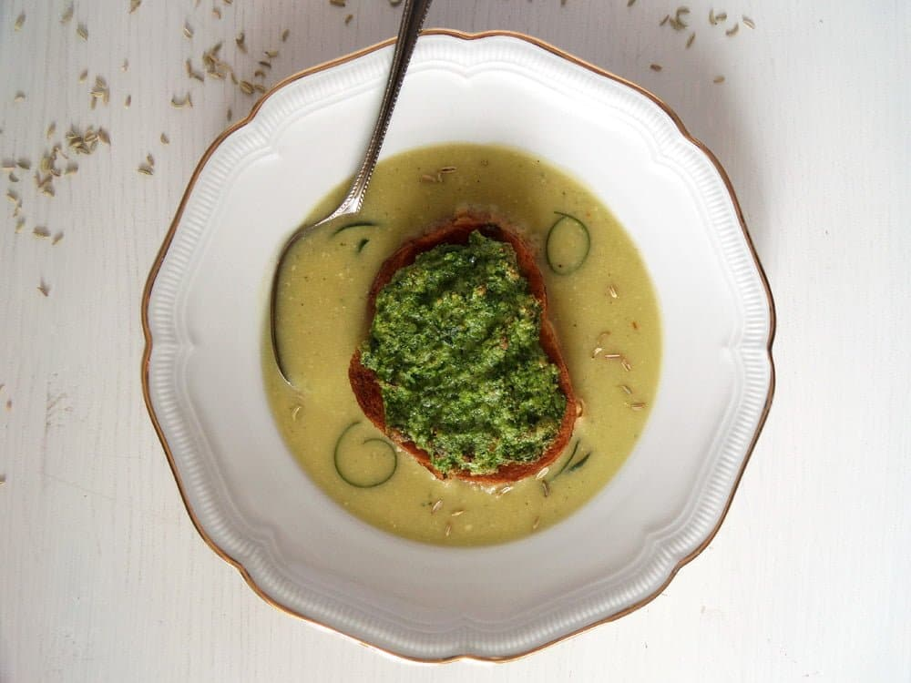 zucchini soup souffle.psd Zucchini Soup with Fennel Seeds and Zucchini Soufflés on Bread