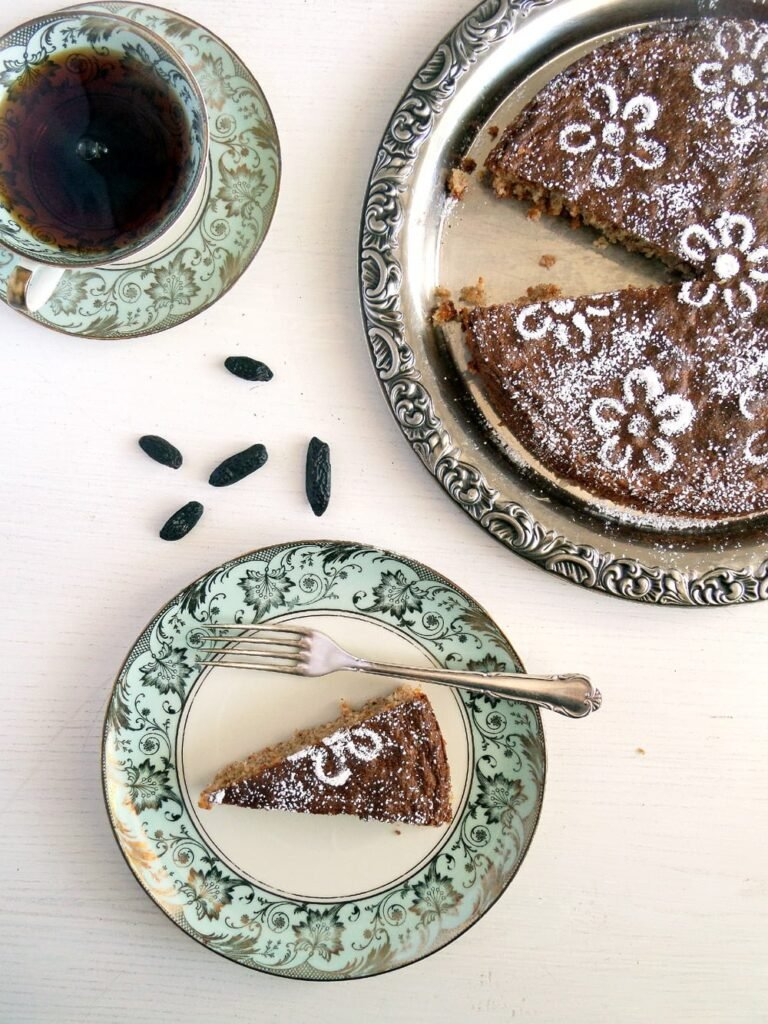 arabian cake without flour slices on a plate