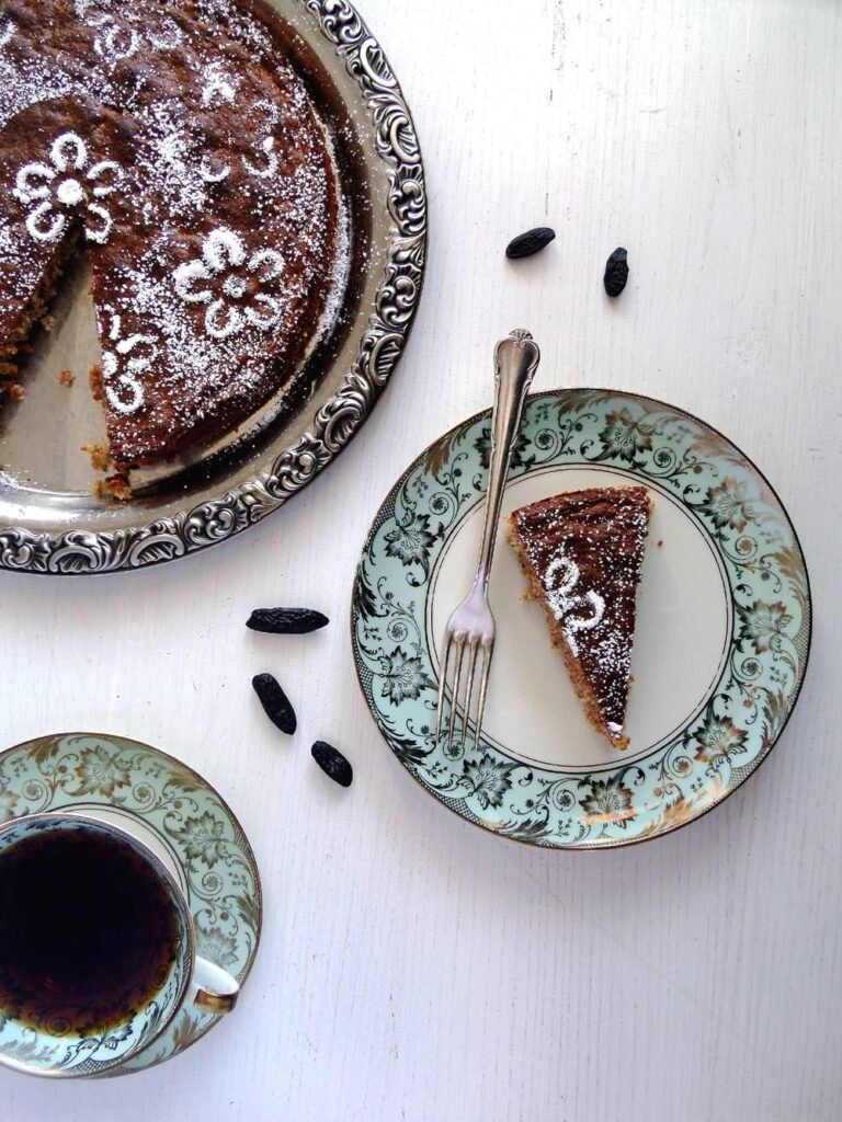 middle eastern dessert served with black coffee