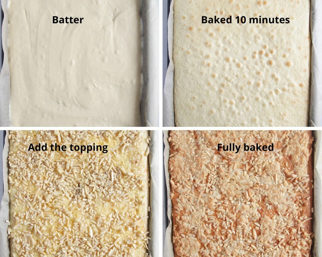 raw batter, semi-baked batter and fully baked on the tray
