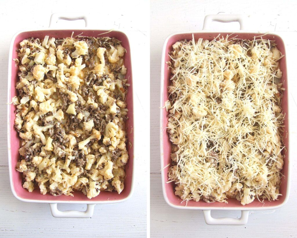 collage of two pictures of uncooked hamburger casserole with cauliflower and cheese