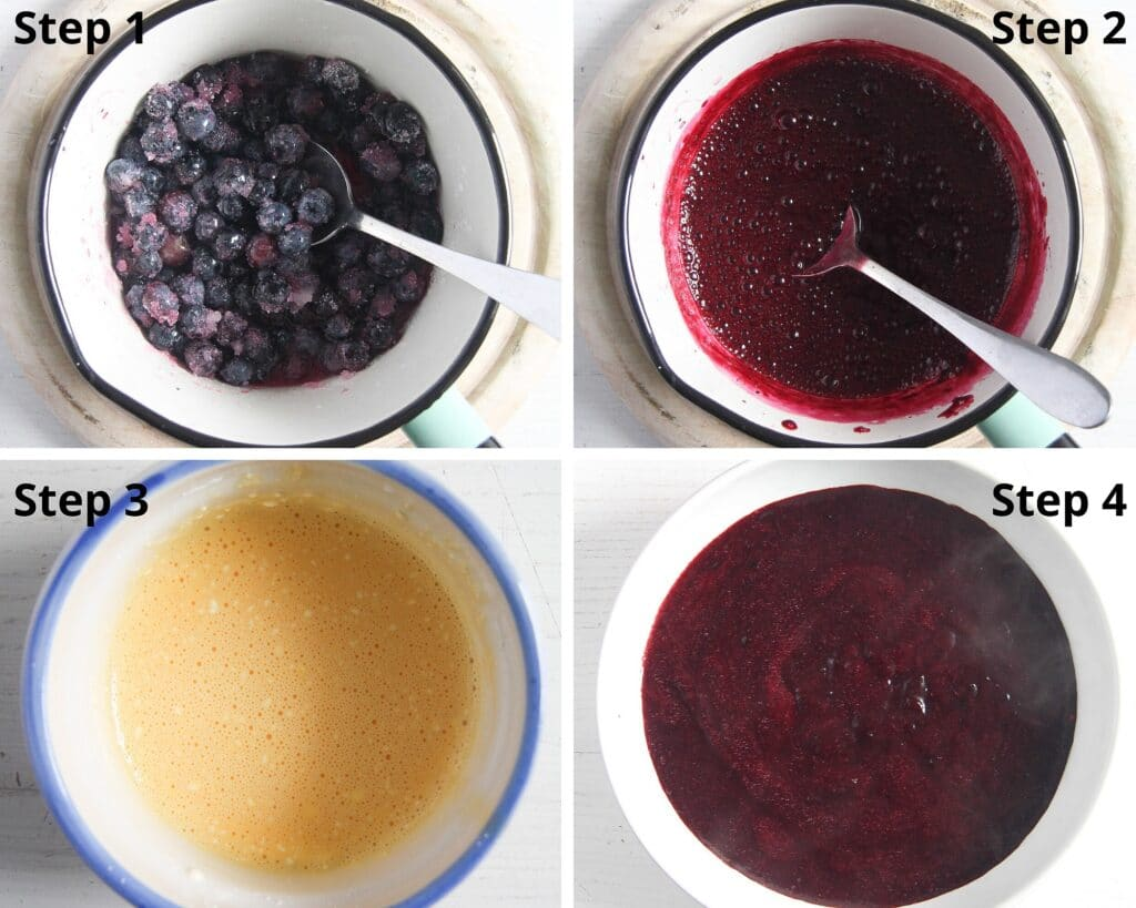step by step making blueberry curd in a small pan