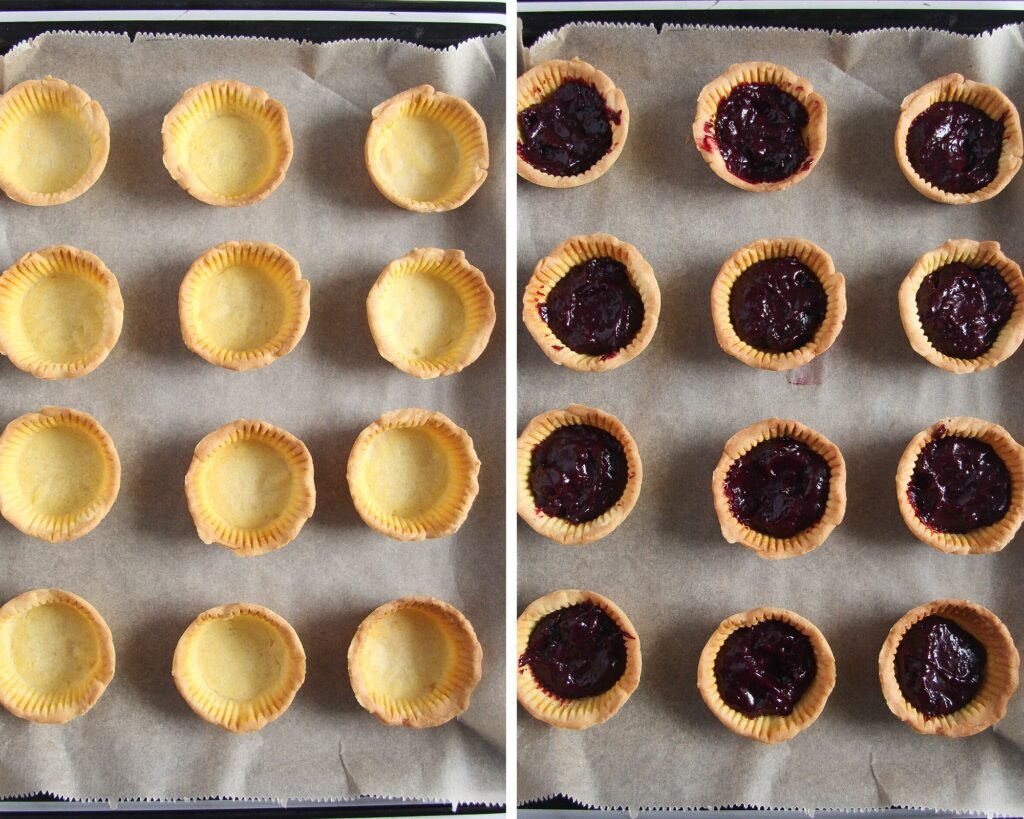empty tart shells and tart shells filled with blueberry curd