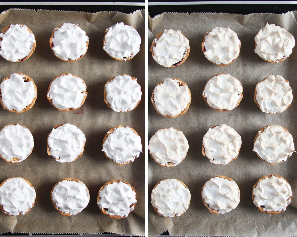 mini tarts topped with meringue before and after baking