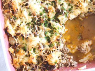 hamburger cauliflower casserole close up in a baking dish