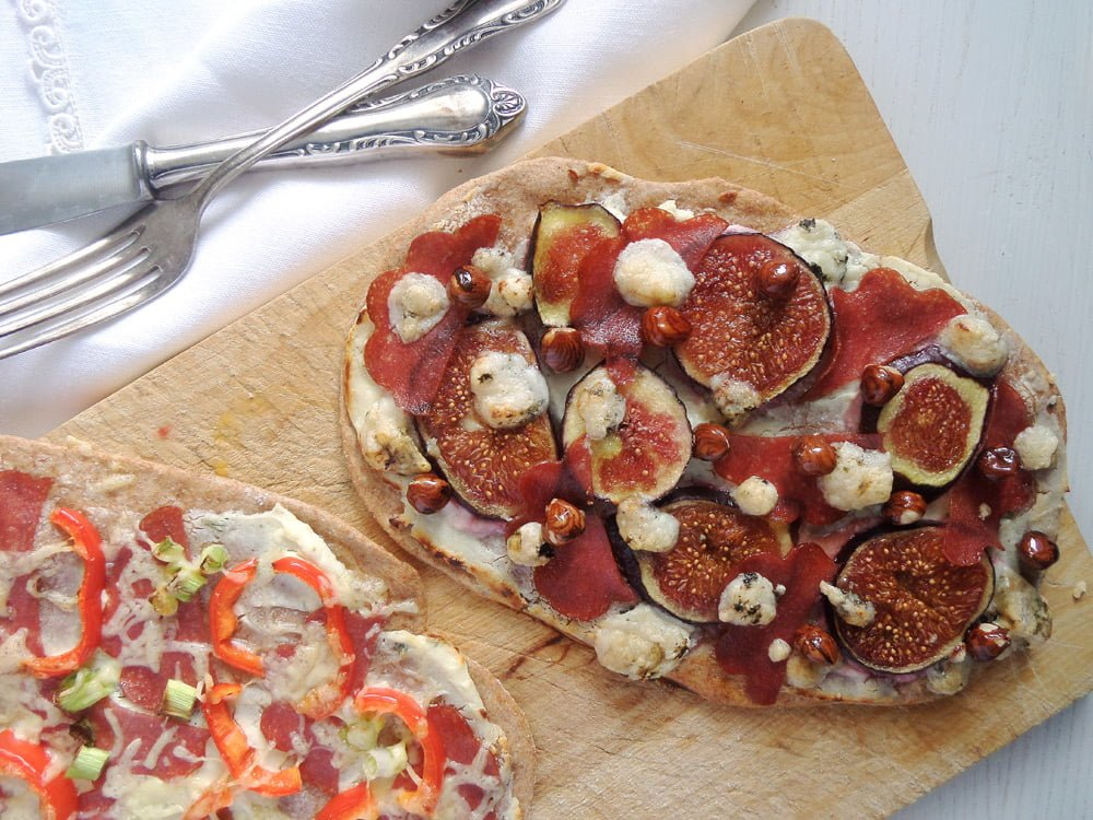 two kinds of flatbread pizza with cheese
