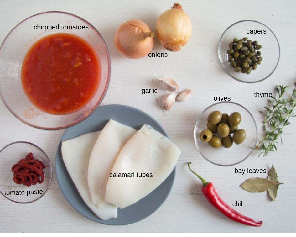 ingredients calamari stew