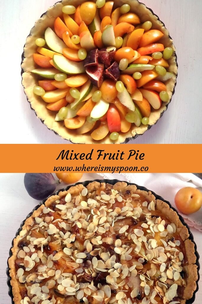 orchard pie with fall fruit before and after baking