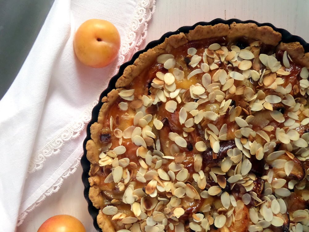 pie with fruit and almonds